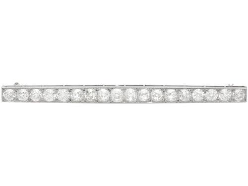 5.45ct Diamond & Platinum Bar Brooch - Antique c.1910 (1 of 9)