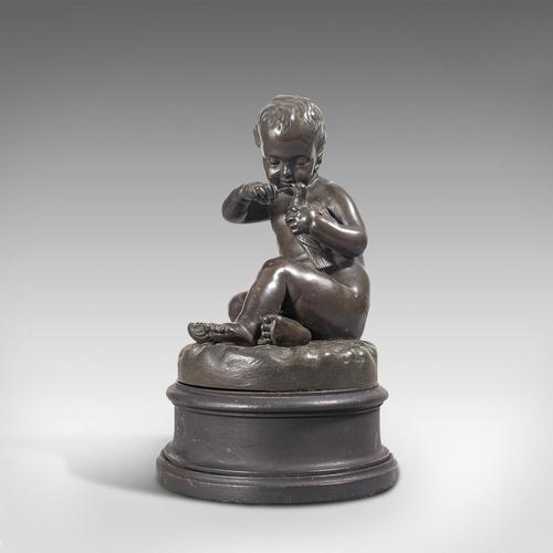 Antique Putto Statue, French, Bronze, Cherub Figure c 1900 (1 of 12)