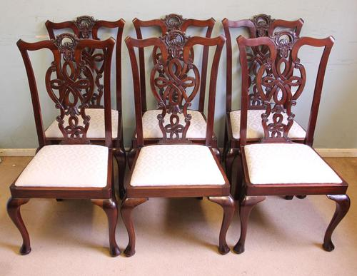 Antique Set of Six Antique Mahogany Chippendale Style Dining Chairs (1 of 9)