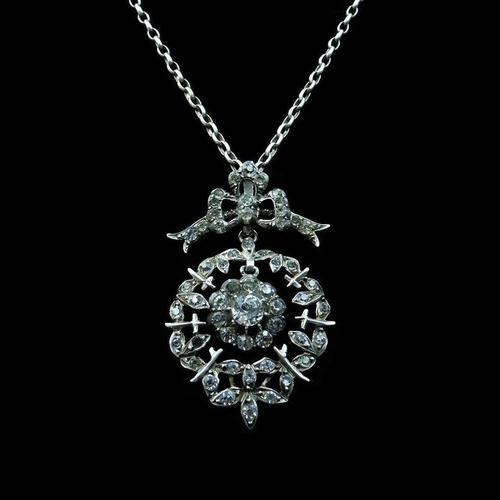 Antique Paste Bow Sterling Silver Drop Pendant and Chain Necklace (1 of 9)