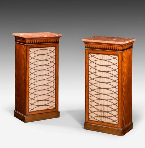 Pair of 19th Century Satinwood Pier Cabinets (1 of 4)