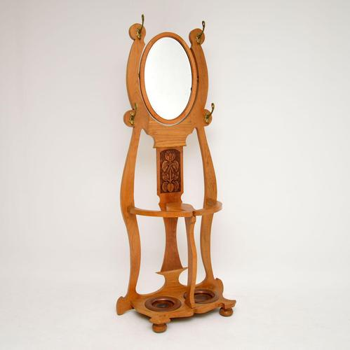 Antique Art Nouveau Light Oak Hall Stand (1 of 8)