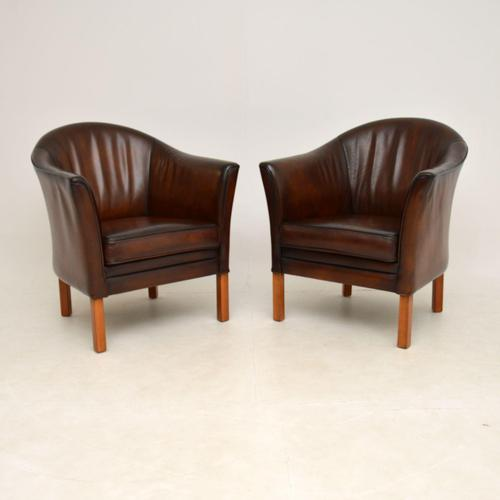 Pair of Danish Vintage Leather Armchairs by Mogens Hansen (1 of 7)