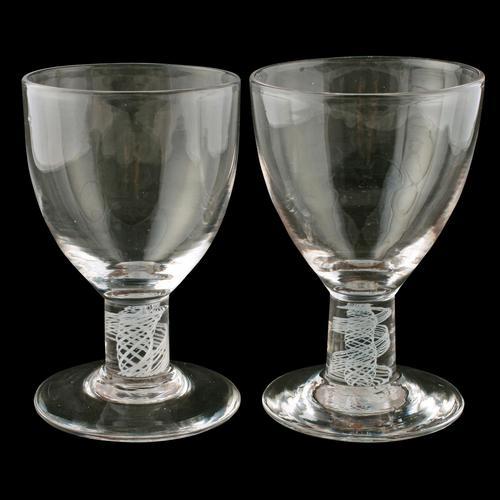 Pair of Georgian Opaque Twist Stem Rummers (1 of 7)