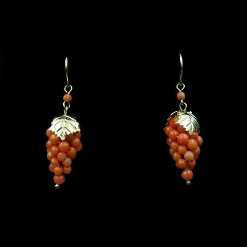 Antique Coral Grape Gold on Sterling Silver Drop Earrings (1 of 7)