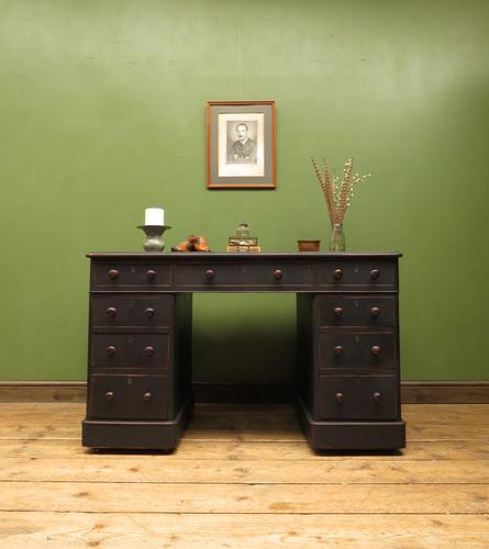Antique Black Painted Pedestal Desk, 3 Parts, Gothic Shabby Chic (1 of 17)