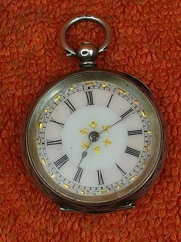 Antique .935 Silver Swiss Hallmarked Pocket Fob Watch c.1880 (1 of 8)