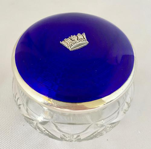 Stunning Blue Guilloche Enamel on Silver Glass Jar c.1930 (1 of 7)