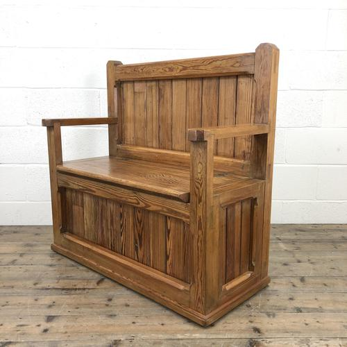 Rustic Pitch Pine Settle Bench (1 of 9)