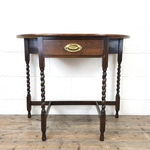 Antique Oak Demi-lune Console Table (1 of 14)