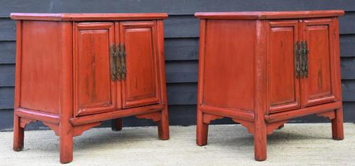 Excellent Pair of Chinese Red Lacquered Cabinets / Cupboards c.1900 (1 of 15)