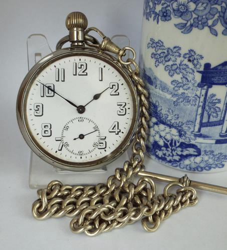 1930s Swiss Lever Pocket Watch & Chain (1 of 6)