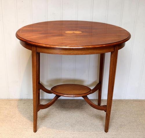 Oval Inlaid Occasional Mahogany Table (1 of 9)