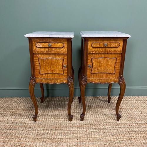 Pair of Hungarian Ash Antique Bedside Cabinets (1 of 6)