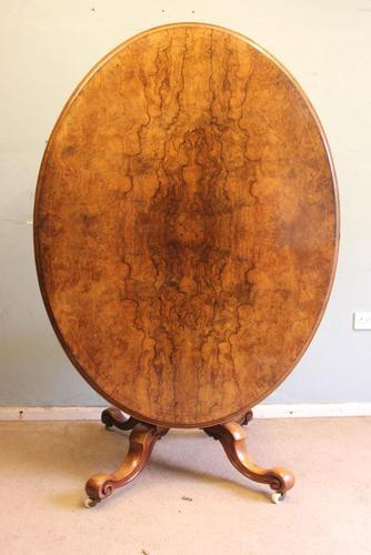 Antique Victorian Burr Walnut Oval Loo Dining Table. (1 of 11)