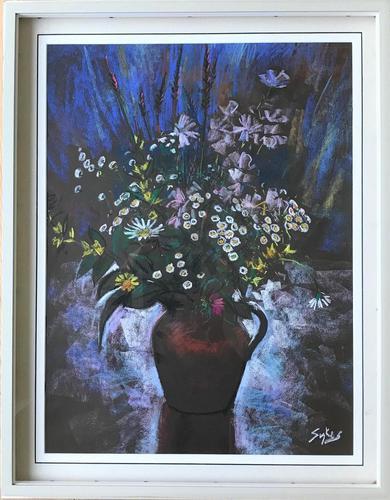 Original Pastel 'Summer flowers' By Aubrey Sykes. P.P.P.S. 1910-1995. Signed. c.1975. Framed (1 of 2)