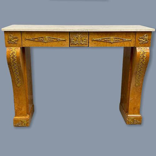 French Burr Walnut & Marble Top Console Table (1 of 14)