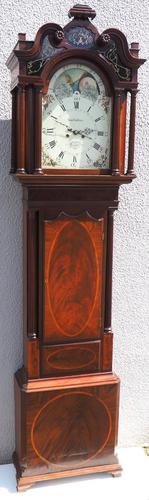 19th Century English Longcase Clock in Mahogany Painted Moon Roller Dial 8-Day Signed Sam Collier Eccles (1 of 6)