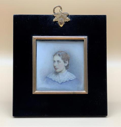Lovely Edwardian Antique Miniature Watercolour Portrait Painting of Lady (1 of 8)