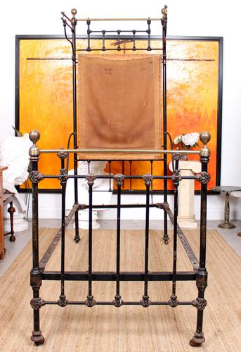 Cast Iron Bed Frame Brass Victorian 19th Century (1 of 9)