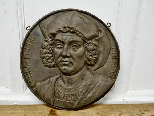 19th Century Cast Iron Portrait Plaque of Christoper Columbus 1451-1506 (1 of 7)