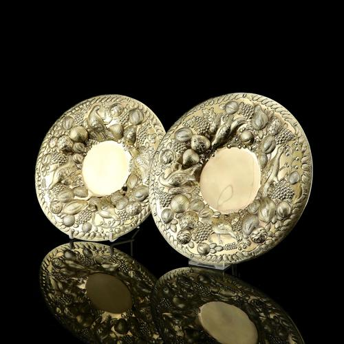 Magnificent Georgian Pair of Solid Silver Gilt Charger / Platter Dishes - George Burrows 1824 (1 of 27)