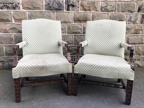 Pair of Mahogany Gainsborough Armchairs (1 of 9)