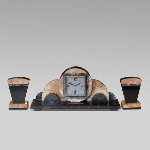 Onyx Art Deco Clock Set including sconces (1 of 3)