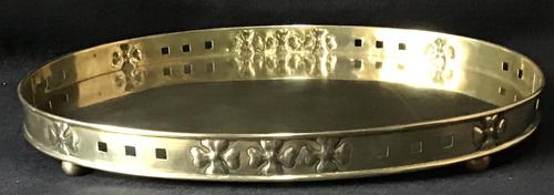 Arts & Crafts Brass Oval Gallery Tray (1 of 5)