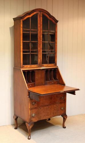 Burr Walnut Queen Anne Bureau Bookcase (1 of 11)
