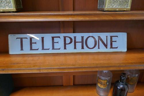"""Original GPO Glass """"TELEPHONE""""  sign from a Red Phone Box (1 of 6)"""