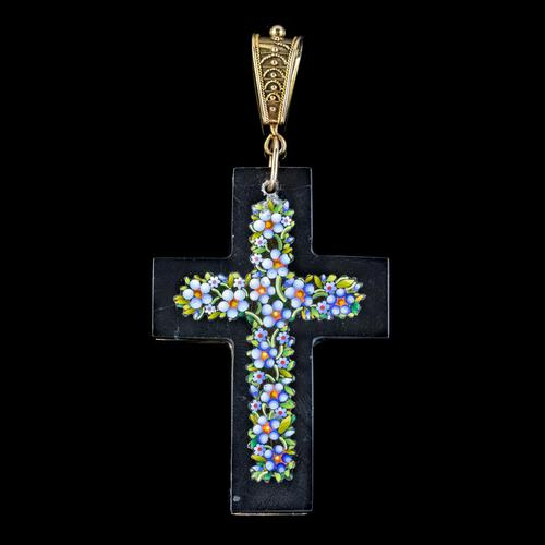 Antique Victorian Micro Mosaic Cross Pendant Forget Me Nots c.1860 Boxed (1 of 7)