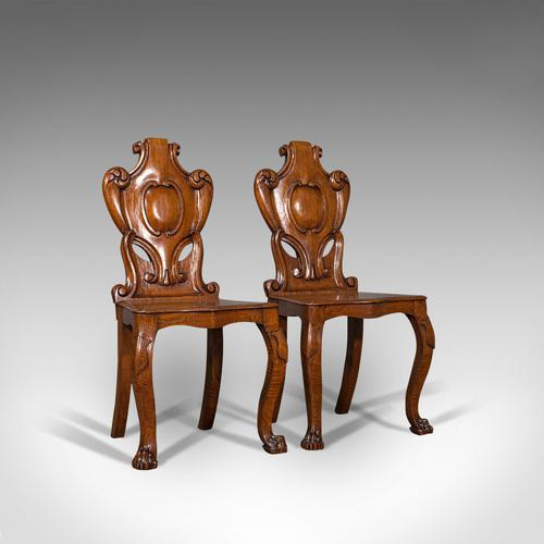 Pair of Antique Shield Back Chairs, Scottish, Oak, Hall Seat, Victorian c.1880 (1 of 12)