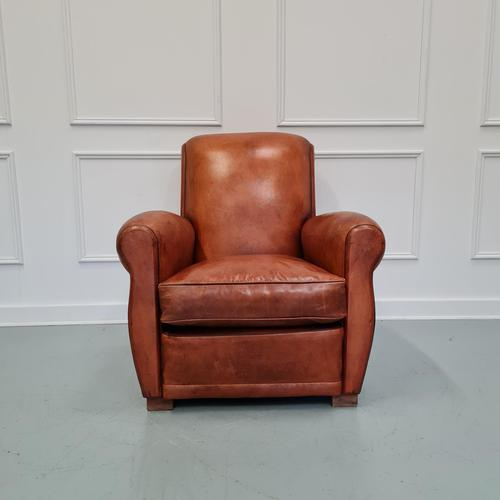 Vintage French Leather Tan Club Chair (1 of 6)