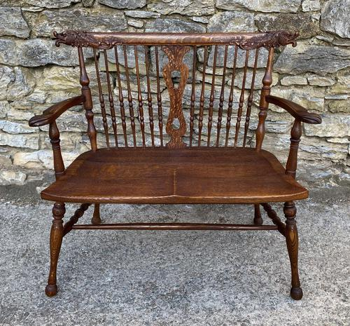 Unusual Oak Arts & Crafts Bench (1 of 18)