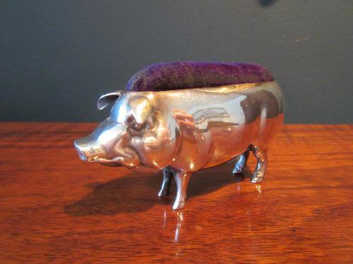 Large Antique Solid Silver Pig Pin Cushion (1 of 8)