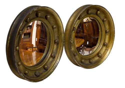 Pair of 19th Century Miniature Gilt Convex Mirrors (1 of 5)