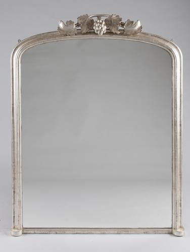 Large English Victorian Silvered Archtop Overmantle Mirror (1 of 7)