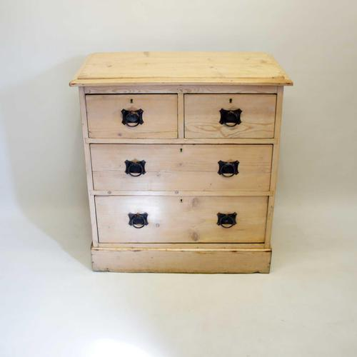 Small Arts & Crafts Pine Chest of Drawers, Refurbished  Rustic (1 of 17)