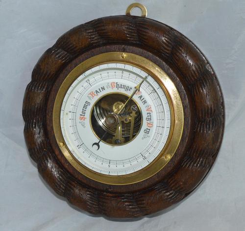 Edwardian Aneroid Barometer, Visible Mechanism Rope Twist (1 of 4)