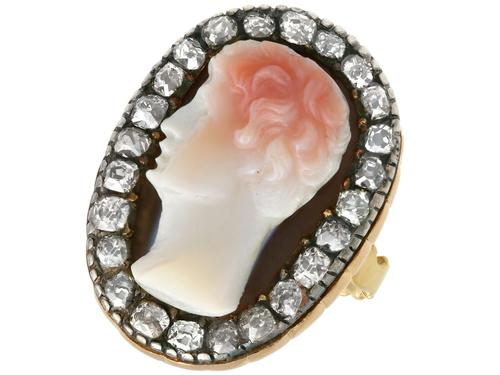 Carved Hardstone & 1.62ct Diamond, 18ct Yellow Gold Dress Ring - Antique c.1770 (1 of 9)