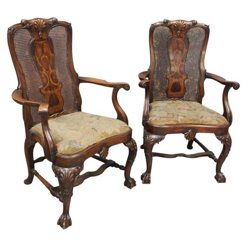 Pair of Queen Anne Style Walnut Armchairs (1 of 17)