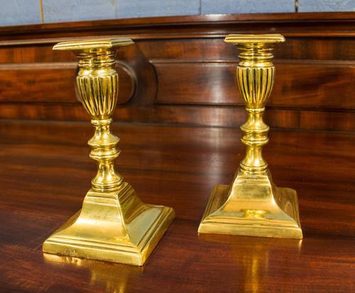 Pair of Short, Cast Brass Neoclassical Candlesticks. Regency Period c.1820 (1 of 4)