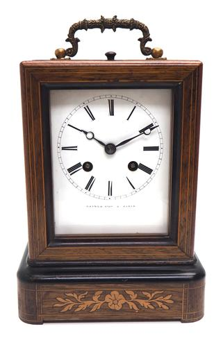 Fine French Officers 8-day Mantel Clock – Rosewood Case With Satinwood Inlay (1 of 13)