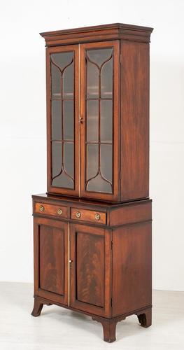 Georgian Mahogany 2 Door Glazed Bookcase (1 of 8)