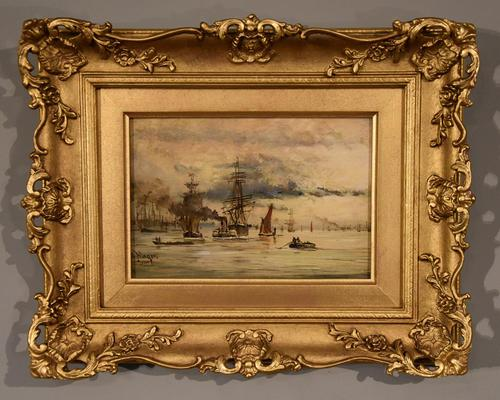 """Oil Painting by Adolphe Ragon """"on the Thames near Woolwich"""" (1 of 5)"""