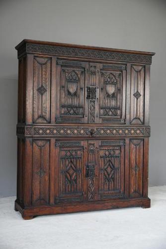 Gothic Revival Oak Cupboard (1 of 12)