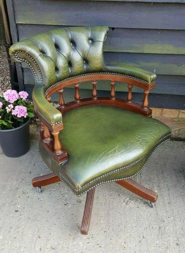 Vintage Mahogany Green Leather Captains Chair (1 of 6)