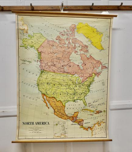 """Large University Chart """"Political Map of North America"""" by Bacon (1 of 6)"""