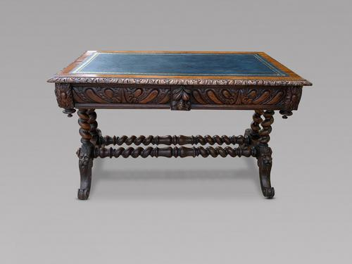 Victorian Carved Oak Library Desk (1 of 4)